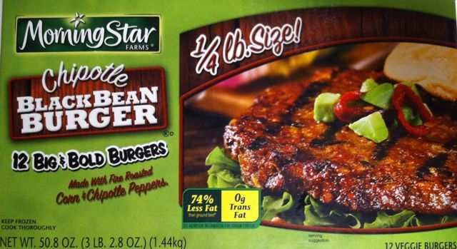 Box of MorningStar Farms Chipotle Black Bean Burgers