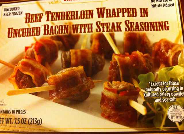 Box of Trader Joe's Beef Tenderloin Wrapped in Bacon