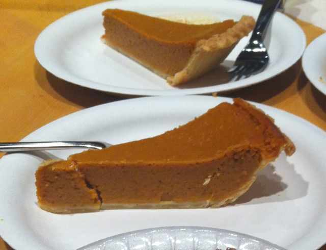 Slices of Costco Pumpkin Pie
