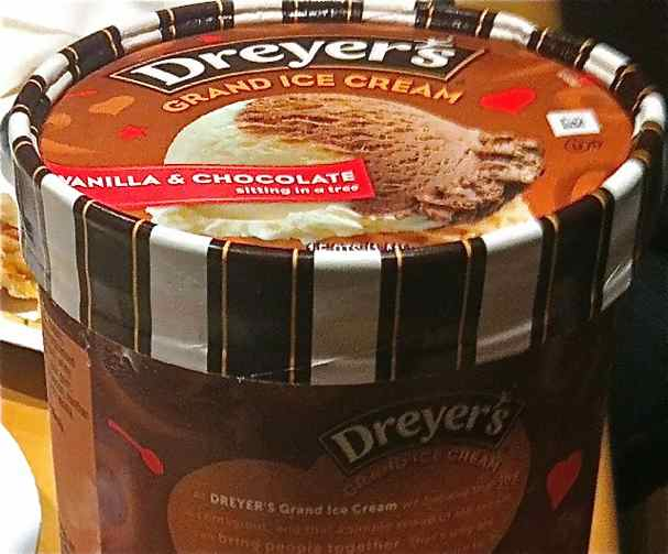 Container of Dreyer's Vanilla & Chocolate Ice Cream