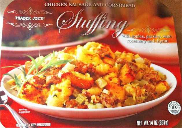 Box of Trader Joe's Chicken Sausage & Cornbread Stuffing