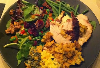 Plate of delicious turkey dinner