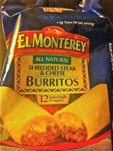 El Monterey Shredded Steak & Cheese Burrito Packaging