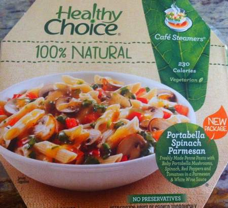 Healthy Choice Portabella Spinach Parmesan Pasta Packaging
