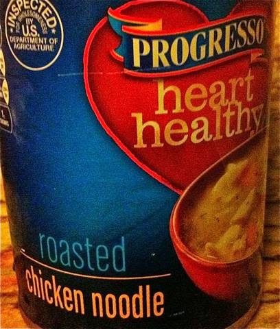 Can of Progresso Heart Healthy Roasted Chicken Noodle Soup