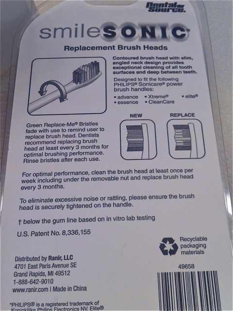 Back of Smile Sonic toothbrush heads box