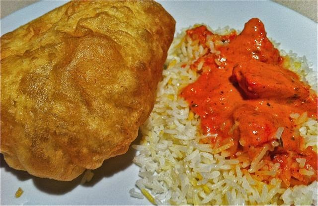Chicken Tikka Masala, Saffron Rice, Poori from Saffron Indian Restaurant in Tucson