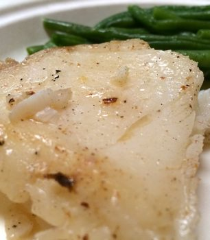 Cooked plate of Kirkland Signature Chilean Sea Bass from Costco