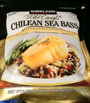 Bag of frozen Kirkland Signature Chilean Sea Bass from Costco