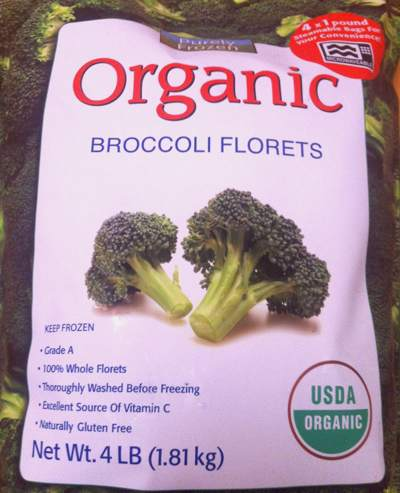 Bag of Purely Frozen Organic Broccoli from Costco