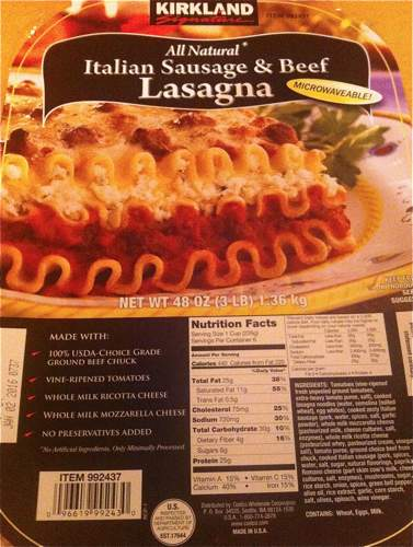 Box of Kirkland Signature Italian Sausage & Beef Lasagna from Costco