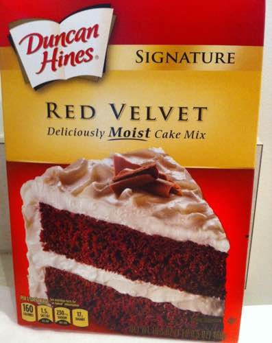 Box of Duncan Hines Signature Red Velvet Cake Mix