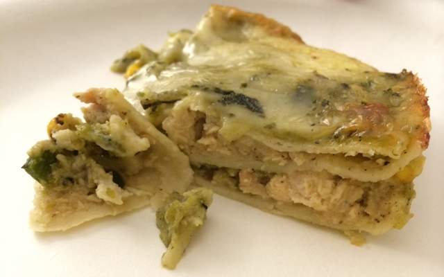 Slice of Isabella's Kitchen Chile Verde Chicken Enchilada from Costco