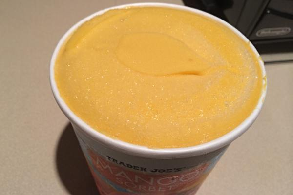Open Container of Trader Joe's Mango Sorbet