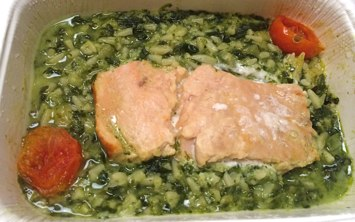 Trader Joe's Frozen Wild Salmon in Yogurt & Mint Sauce cooked