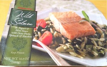 Box of Trader Joe's Frozen Wild Salmon in Yogurt & Mint Sauce