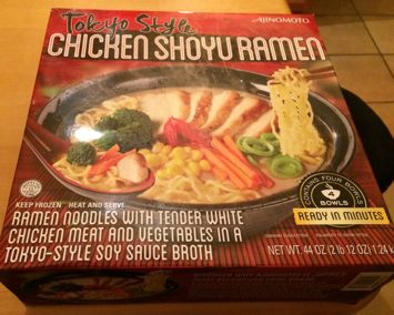 Box of Ajinomoto frozen Tokyo Style Chicken Shoyu Ramen