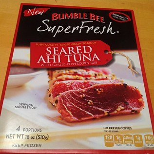 Box of Bumble Bee Superfresh Seared Ahi Tuna