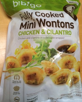Bag of Bibigo Chicken & Cilantro Mini Wontons