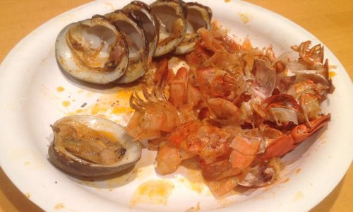 Finished plate with empty shells