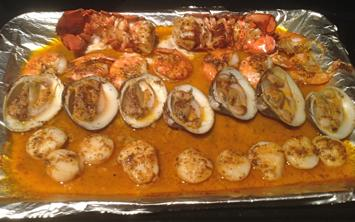 J.Scott's Seafood Fest cooked on tray