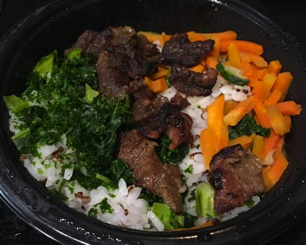 Frozen Korean Style Bibimbap Beef from Costco (before heating)